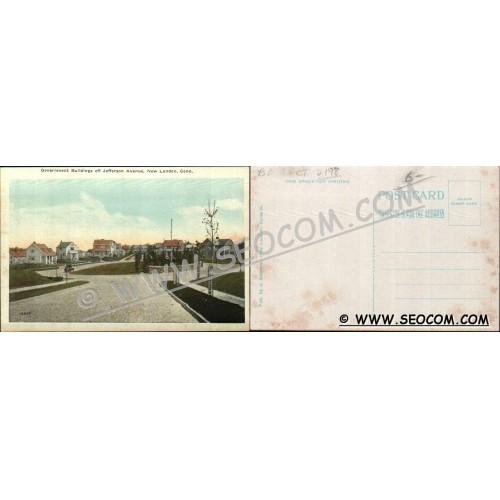 CT New London Postcard Government Buildings Off Jefferson Avenue Street Sc~2198