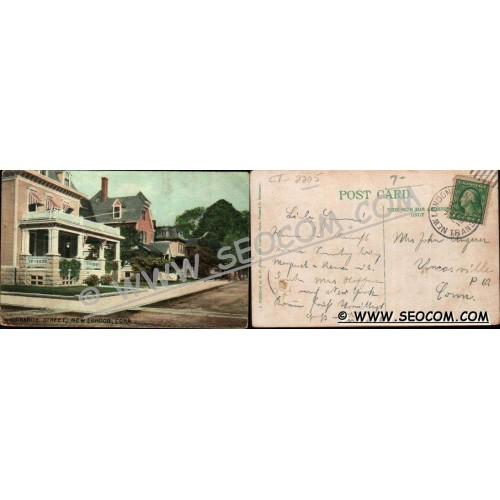 CT New London Postcard Granite Street Street Scene Intersection ct_box4~2205