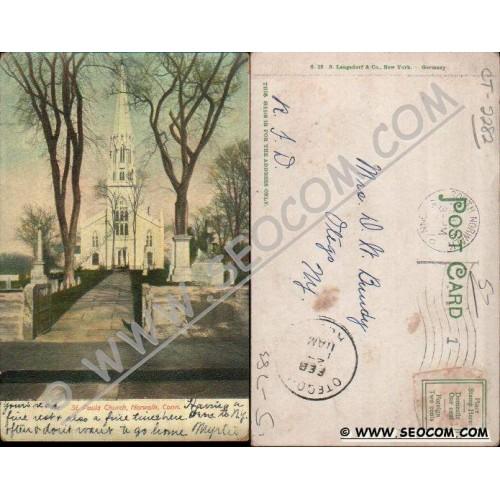 CT Norwalk Postcard St Pauls Church Undivided Back ct_box4~2282