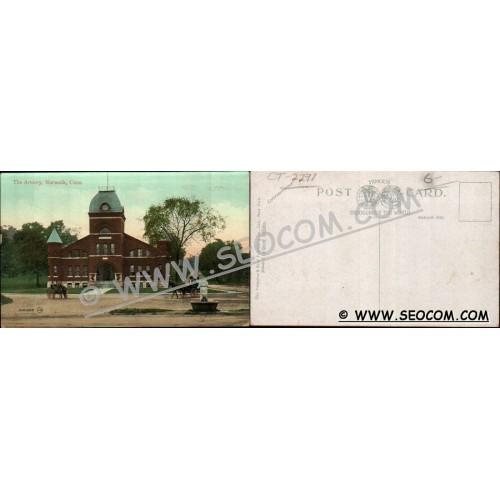 CT Norwalk Postcard The Armory Street Scene w/Horses & Wagons ct_box4~2291
