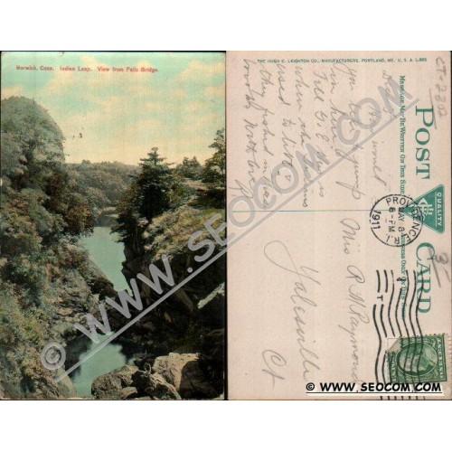 CT Norwich Postcard Indian Leap View From Falls Bridge ct_box4~2302