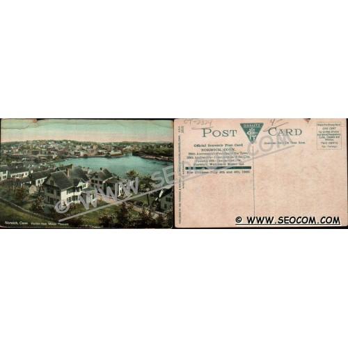 CT Norwich Postcard Harbor From Mount Pleasant Official Souvenir Post Card~2324