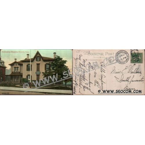 CT Norwich Postcard Buckingham Memorial Street Scene ct_box4~2369