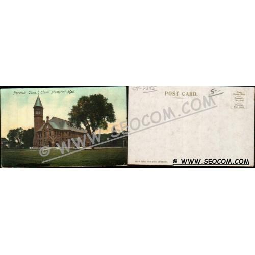 CT Norwich Postcard Slater Memorial Hall ct_box4~2395