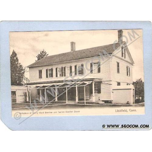 CT Litchfield Birthplace Of Henry Ward Beecher & Harriet Beecher Stowe ct_~1029