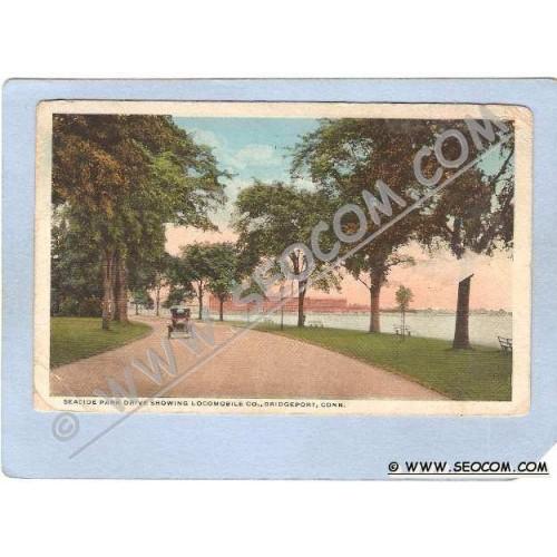 CT Bridgeport Seaside Park Drive Showing Locomobile Co w/Old Car ct_box1~155