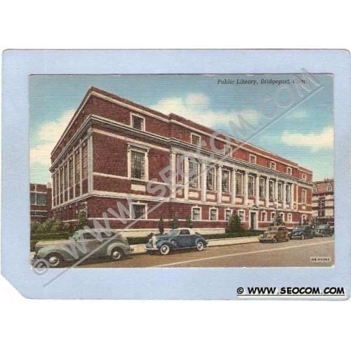 CT Bridgeport Public Library Street Scene w/Old Cars ct_box1~262