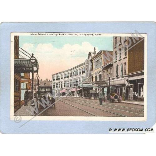 CT Bridgeport Main Street Showing Polis Theatre Street Scene w/Trolley Tra~331