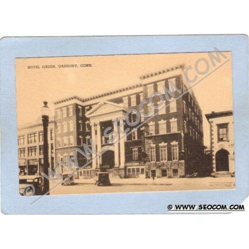 CT Danbury Hotel Green Street Scene w/Old Cars ct_box1~493
