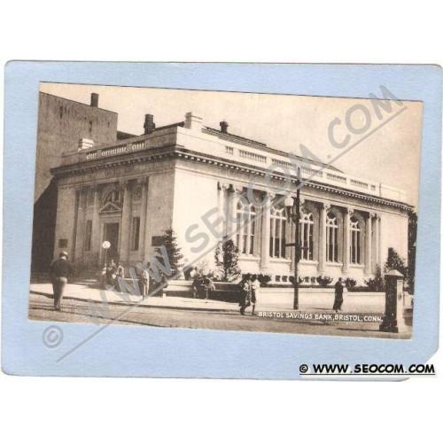 CT Bristol Bristol Savings Bank Street Scene Intersection w/Trolley Track ~62