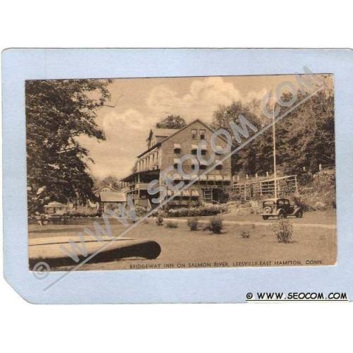 CT Leesville-East Hampton Bridgeway Inn On Salmon River w/Old Car Photo Ty~939