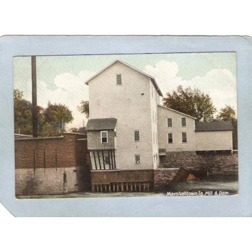 IA Marshalltown Postcard Mill & Dam state_box3~117
