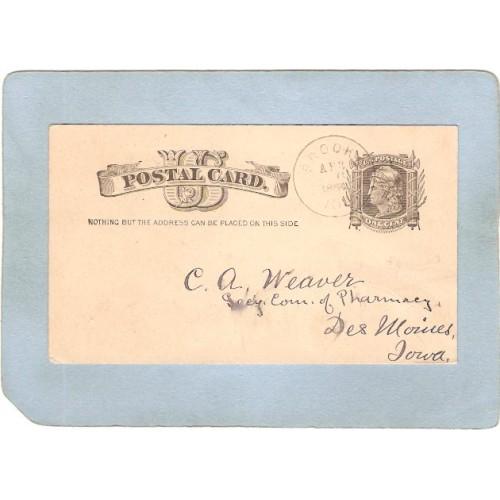 IA Des Moines Postcard Penny Postcard To C A Weaver Secy Com Of Pharmacy D~231
