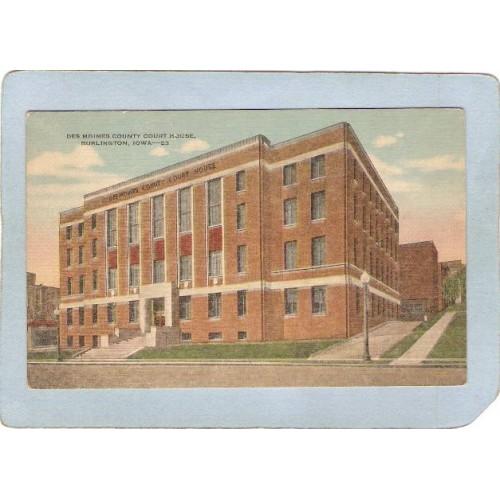 IA Burlington Postcard Des Moines County Court House state_box3~28