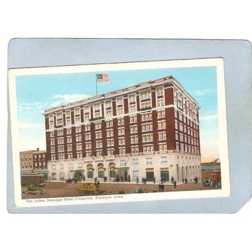 IA Dubuque Postcard The Julien Dubuque Hotel Fireproof Street Scene Inters~66