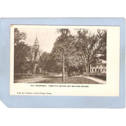 MA Old Deerfield Meeting House & Willard House Tree Lined Street Scene ma_~1041