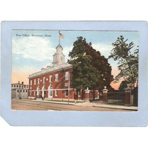 MA Brockton Post Office Street Scene w/Trolley Tracks ma_box1~229