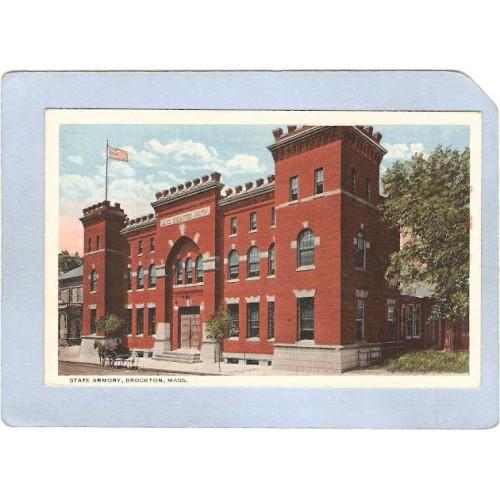 MA Brockton State Armory Street Scene w/Horse & Wagon ma_box1~234