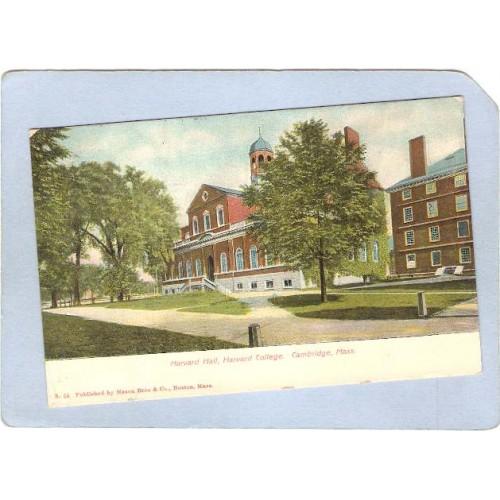 MA Cambridge Harvard Hall Harvard University Undivided Back ma_box1~444