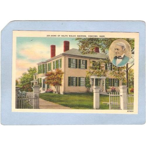 MA Concord Home Of Ralph Waldo Emerson Photo Top Right Corner ma_box2~925