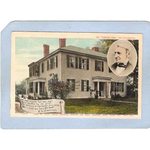 MA Concord Home Of Ralph Waldo Emerson Photo Top Right Corner ma_box2~927