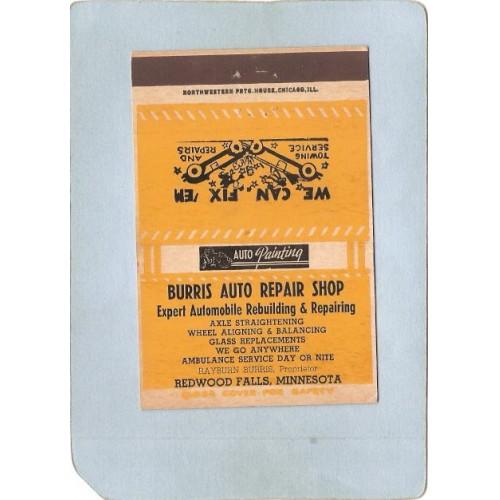 MN Redwood Falls Matchcover Burris Auto Repair Shop state_box5~110