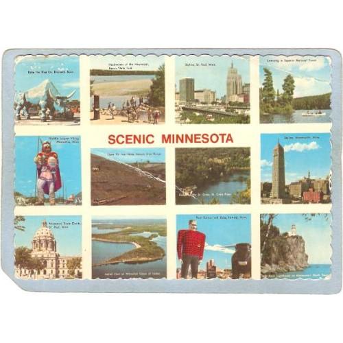 MN GEN Postcard Scenic Minnesota Multi View Rippled Edges state_box5~11