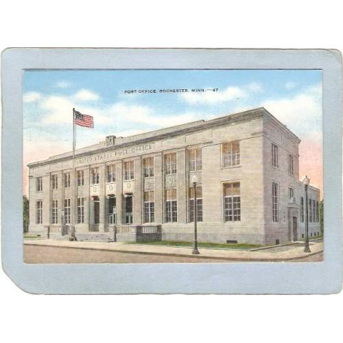 MN Rochester Postcard Post Office Street Scene state_box5~125
