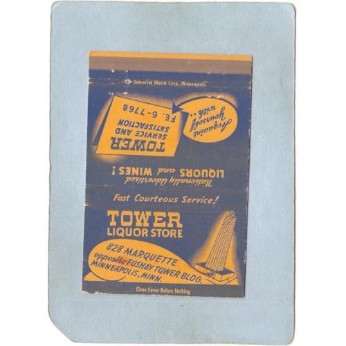 MN Minneapolis Matchcover Tower Liquor Store 828 Marquette Opposite Foshay~220