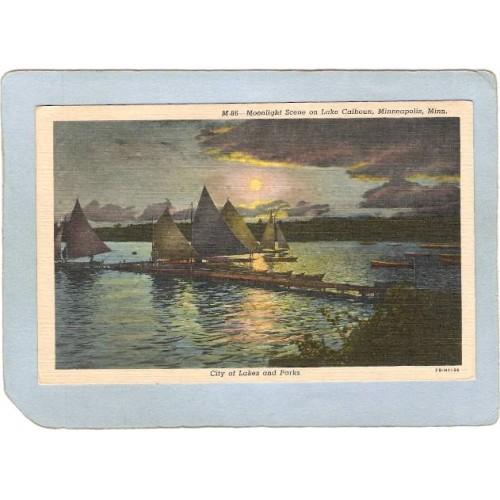 MN Minneapolis Postcard Moonlight Scene On Lake Calhoun spare_box1~235