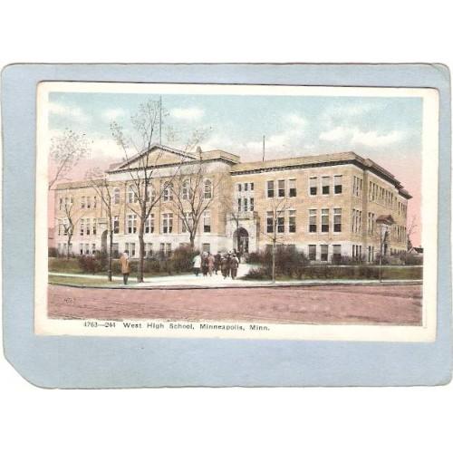 MN Minneapolis Postcard West High School Street Scene Intersection w/Troll~243