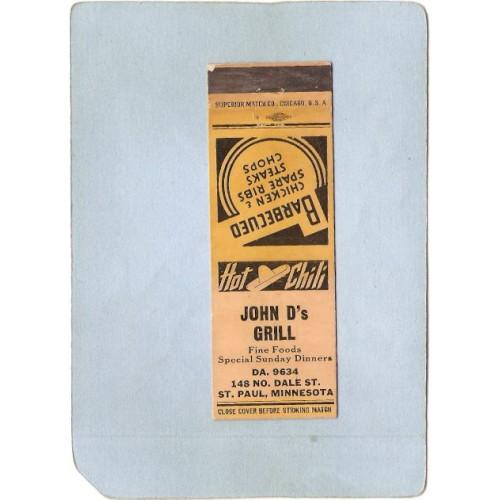 MN St Paul Matchcover John D's Grill 148 No Dale St Phone DA 9634 Hot Chil~274