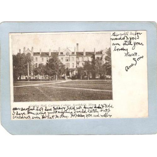 MN Northfield Postcard Gridley Hall Carleton College w/Photo Of Gridley Ha~97