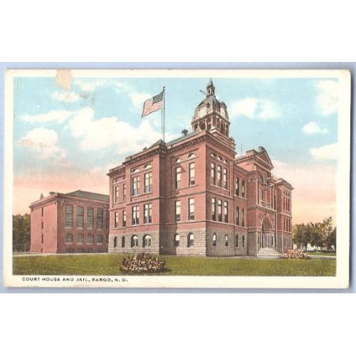 ND Fargo Postcard Court House & Jail state_box6~19