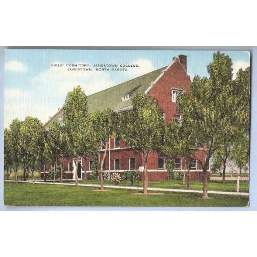 ND Jamestown Postcard Girl's Dormitory Jamestown College state_box6~24
