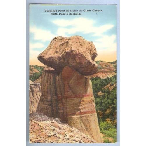 ND Badlands Postcard Balanced Petrified Stump In Cedar Canyon state_box6~2
