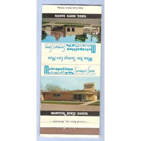 ND Wahpeton Matchcover Metropolitan Savings & Loan Association Wahpeton & ~31