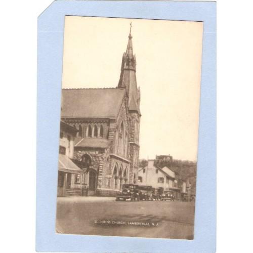 NJ Lambertville St Johns R C Church Old Cars Parked Out Front nj_box3~1174