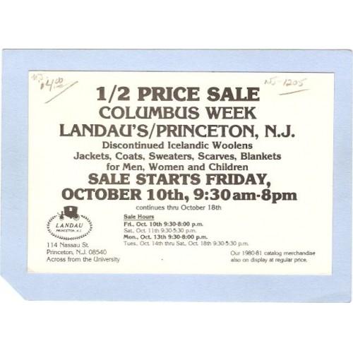 NJ Princeton Advertising Card For Columbus week Sale At Landaus 114 Nassau~1205