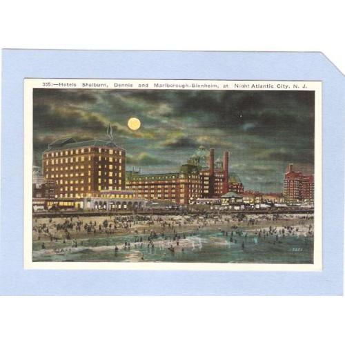 NJ Atlantic City Hotels Shelburne Dennis & Marlborough Blenheim At Night n~121
