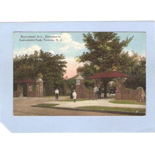 NJ Trenton Stuyvesant Ave Entrance Cadwalader Park Old Cars nj_box3~1352