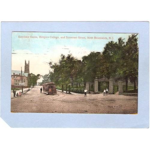NJ New Brunswick Entrance Gates Rutgers College & Somerset Street Trolley ~1449