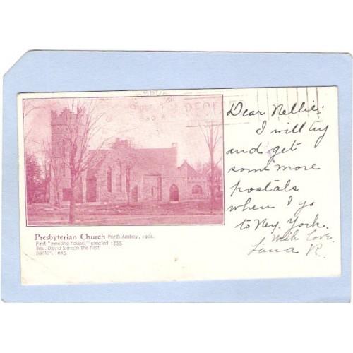 NJ Perth Amboy Presbyterian Church 1902 Private Mailing Card Oct 6 1903 ~1484