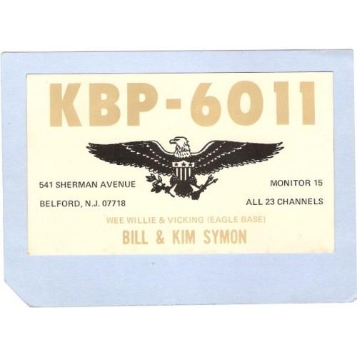 NJ Belford QSL Card KBP-6011 Bill & Kim Symon 541 Sherman Ave  nj_box4~1500