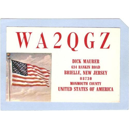 NJ Brielle QSL Card WA2QGZ Dick Maurer 634 Rankin Rd  nj_box4~1505