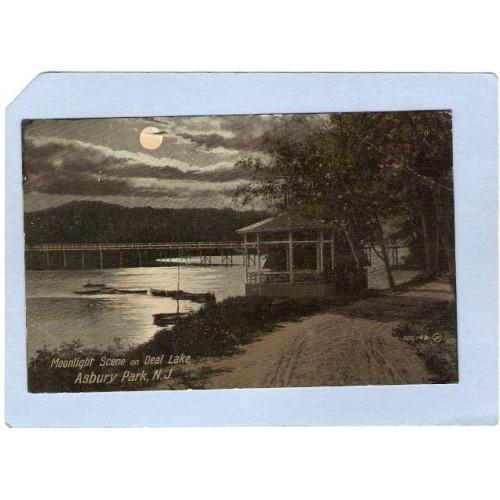 NJ Asbury Park Moonlight Scene On Deal Lake nj_box4~1758