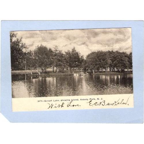 NJ Asbury Park Sunset Lake Showing Island nj_box4~1771