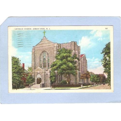 NJ Asbury Park Catholic Church Street Scene Intersection w/Old Car nj_b~1808