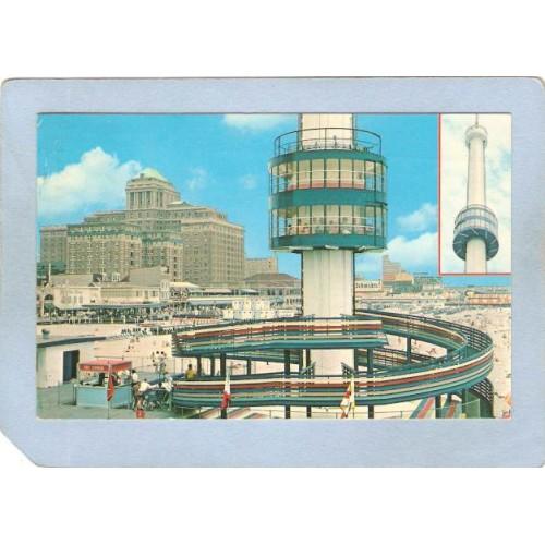 NJ Atlantic City View Of Sky Tower w/Schmidt's Beer Sign In Background ~3053
