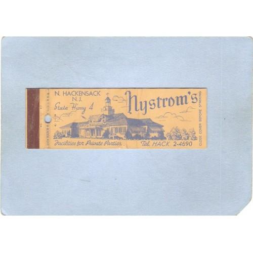 NJ N Hackensack Full Length Matchcover Nystrom's Restaurant nj_box1~3145